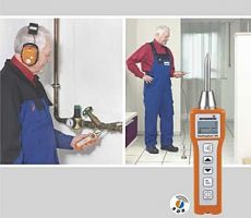 Stethophon water leak detector being used by a plumber